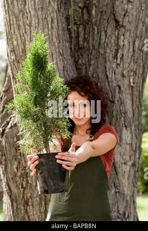 Femme se trouve à côté de grand arbre, l'arbre plus petit maintenant vers la caméra, Winnipeg, Manitoba, Canada
