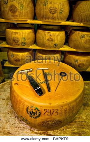 Ustensiles pour le contrôle de la qualité, en battant, le parmigiano reggiano, cooperativa casearia Castelnuovo Banque D'Images