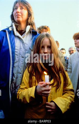 Greenham Berkshire UK Décembre 1982 manifestants à l'Greenham Common Women's Peace Camp Banque D'Images