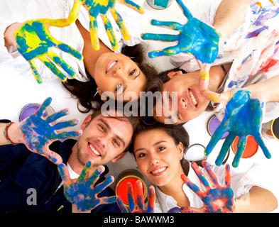 amis heureux Banque D'Images
