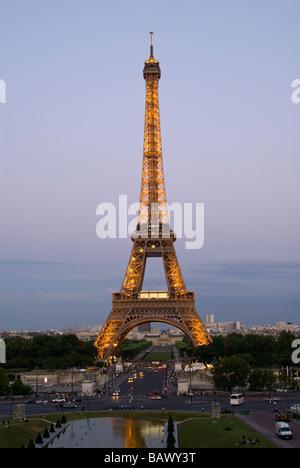 La Tour Eiffel Vue du Trocadéro Banque D'Images