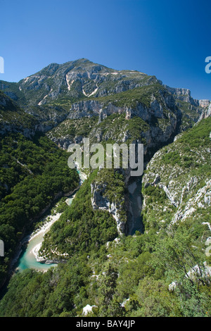 Grand Canyon du Verdon, vue sur la rivière Verdon vue de balcons de la Mescla, Alpes de Haute Provence, Provence, Banque D'Images