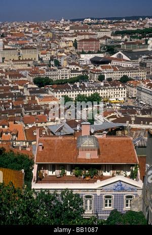 Vue du château de Saint George, le château de Saint George, Lisbonne, Lisbonne, Portugal, Europe District Banque D'Images