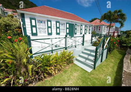 Saba Windwardside architecture traditionnelle Banque D'Images