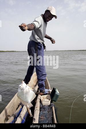 Sénégal: pêcheur dans sa pirogue sur le fleuve Casamance Banque D'Images