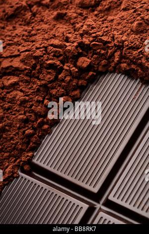 Un Chocolat et cacao closeup Banque D'Images