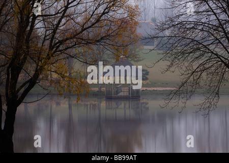 La magnificence du matin d'automne brumeux Banque D'Images