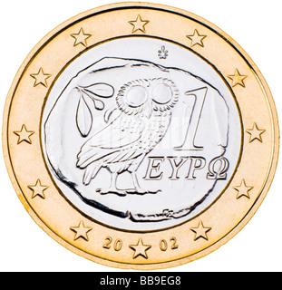 Pièce de 1 Euro grec ar Banque D'Images
