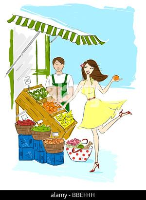 Illustration de femme flirter avec épicerie Banque D'Images