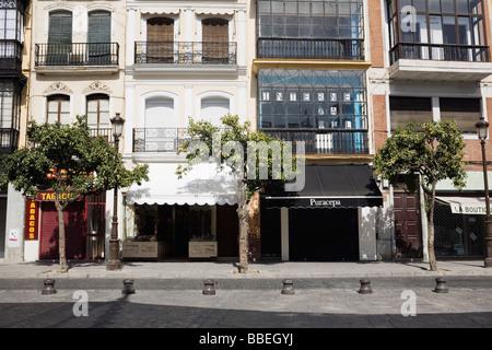 L'extérieur des maisons dans Séville, Andalousie, Espagne Banque D'Images