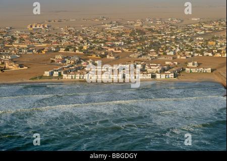 Swakopmund, photo aérienne, la Namibie, l'Afrique Banque D'Images