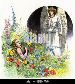 Ange gardien veillant sur une fille dormir. À la main, gravure sur bois Banque D'Images