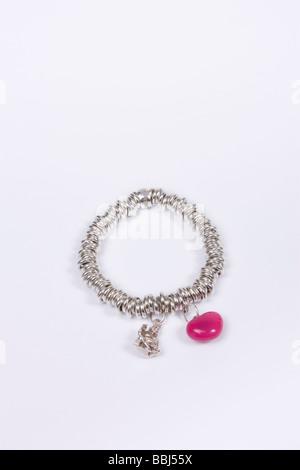 Links Of London sweetie bracelet en argent sterling charme et coeur rose charme et buddah Banque D'Images
