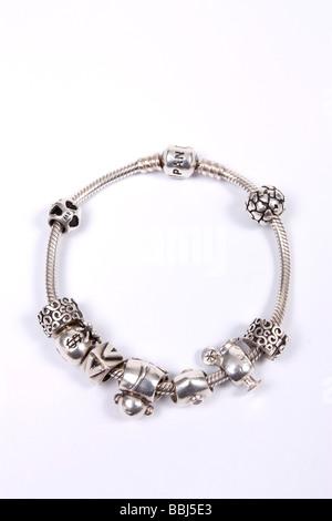 Pandora bracelet en argent sterling charme avec charms Banque D'Images