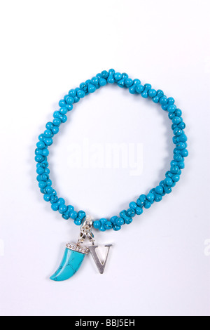 Blue Coral Thomas Sabo charm bracelet en argent sterling avec charme v Banque D'Images