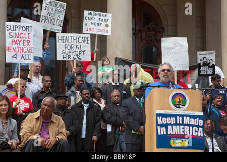 Emploi rassemblement à Michigan State Capitol Banque D'Images