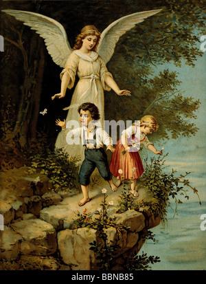 Religion, anges, ange gardien, empreinte pétrolière, XIXe siècle, protection, enfant, enfants, enfant, enfant, enfant, Banque D'Images
