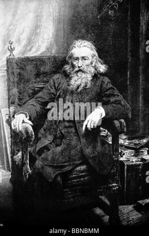 Matejko, Jan, 28.7.1838 - 1.11.1893, peintre et chercheur culturel polonais, pleine longueur, assis, après autoportrait Banque D'Images