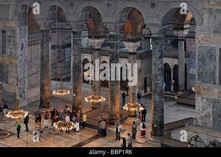 Sainte-sophie, Aya Sofya, vue de la galerie dans la nef, Sultanahmet, Istanbul, Turquie