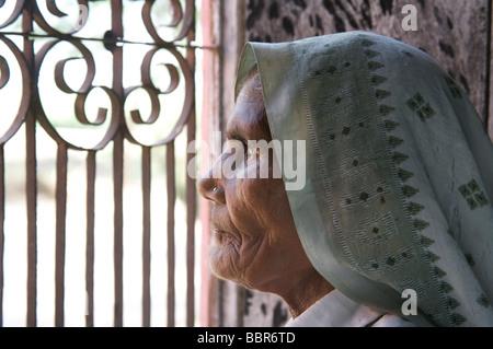 Une vieille femme indienne donne des barres sur sa fenêtre, près de New Delhi, Inde, Asie Banque D'Images