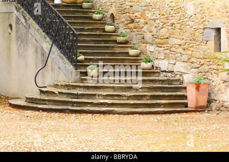 Escaliers Saint Papoul Languedoc-Roussillon France Banque D'Images
