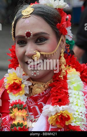 Allemagne Berlin Carnaval des cultures indienne en costume Banque D'Images