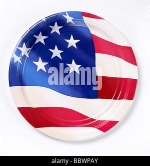 Rouge Blanc Bleu plaque papier patriot patriotic American Flag Banque D'Images