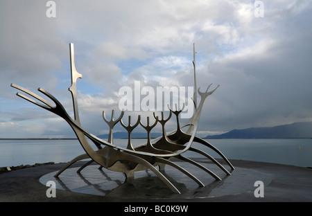 Bateau Viking Islande Reykjavík sculpture Banque D'Images