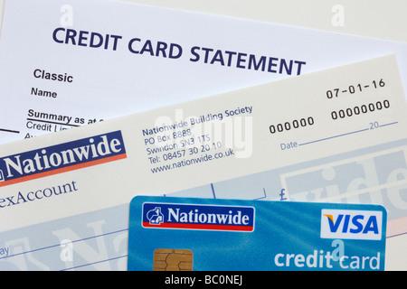 Carte Visa Angleterre.Releve De Carte De Credit Avec Carte Visa Et Carnet De Cheques De