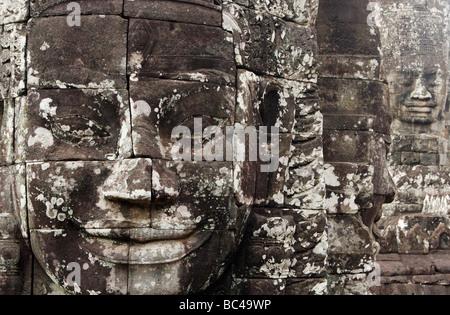 Grand sourire gravé dans la pierre, temple Bayon, Angkor Thom [ruines], Cambodge