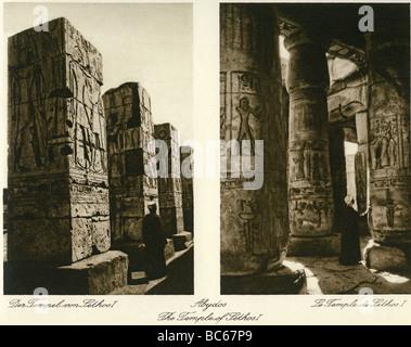 Géographie / voyages, Egypte, Abydos, temple du roi Seti I (19ème dynastie), vue de l'intérieur, 1930, , Additional Banque D'Images