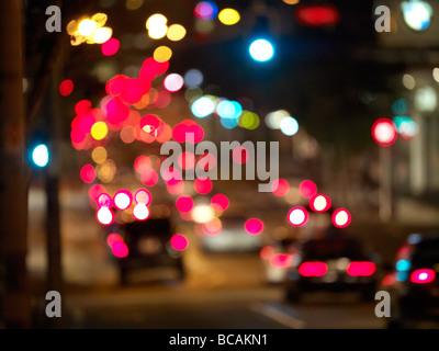 Trafic de nuit brouillée Banque D'Images