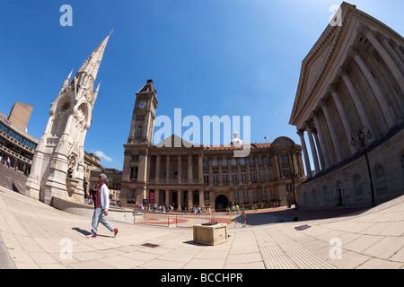 Joseph Chamberlain Square et de la bibliothèque centrale de la fontaine de ville Birmingham West Midlands England Banque D'Images