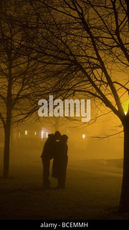 Un couple s'embrasser sous un arbre dans un parc sur une nuit de brouillard Banque D'Images