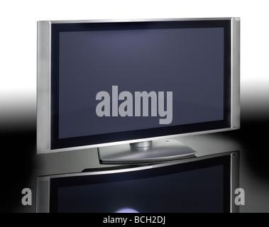 Télévision à écran plasma plat horizontal fixé Banque D'Images