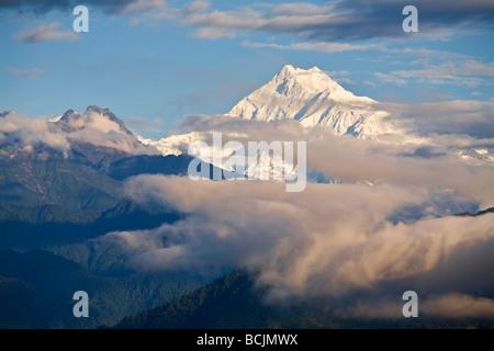 L'Inde, le Sikkim, Gangtok, Tashi de Vue, Vue de Kanchenjunga, gamme Kangchendzonga Banque D'Images