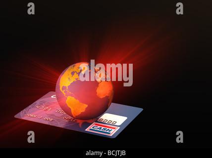 La lumière provenant de monde sur la carte de crédit Banque D'Images