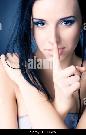 Woman portrait doux signe calme Banque D'Images