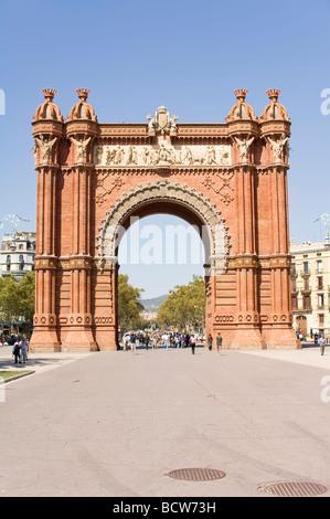 Parc de la Ciutadella Arc de Triomf ou Arc de Triomphe de Barcelone Catalogne Espagne Banque D'Images