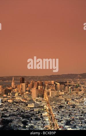 Usa California San Francisco Skyline vue de Twin Peaks Banque D'Images