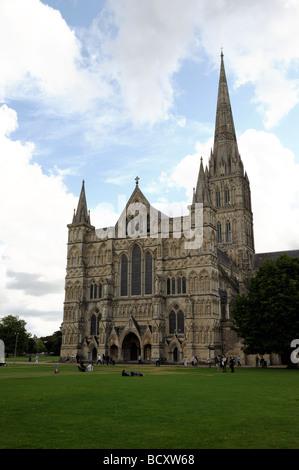 La cathédrale de Salisbury Wiltshire Banque D'Images