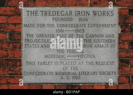 Une plaque commémorative placée sur le site de l'Tredegar Iron Works Museum, Richmond, VA, États-Unis.