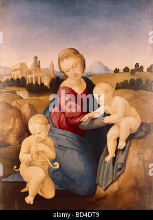 Beaux-arts, Raphael (Raffaello Santi) (6.4.1483 - 6.4.1520), peinture 'Madonna' Esterhazy, 1508, huile sur panneau, Banque D'Images