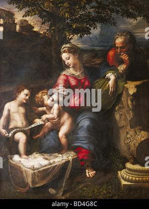 Beaux-arts, Raphael (Raffaello Santi) (6.4.1483 - 6.4.1520), la peinture 'La Sainte Famille de l'arbre de chêne' Banque D'Images