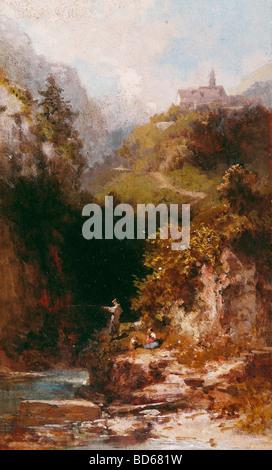 """Beaux-arts, Spitzweg, Carl (1808 - 1885), peinture, """"le pêcheur"""", Galerie Nusser, Munich, Karl, allemand, de style Banque D'Images"""
