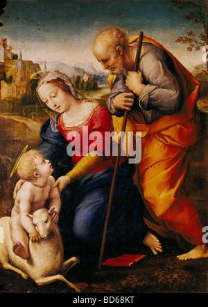 """Beaux-arts, Raphael (Raffaello Santi, 1483 - 1520), la peinture 'La Sainte Famille avec un agneau"""", 1507, huile Banque D'Images"""