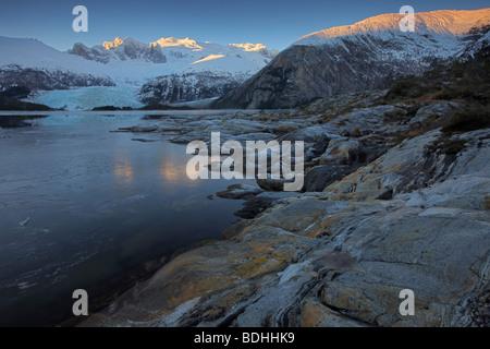 L'hiver, Seno Pia, bras Est, la Terre de Feu, Chili Banque D'Images