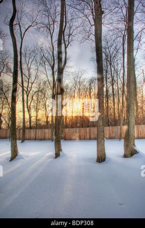 Coucher du soleil après tempête en Ohio Banque D'Images