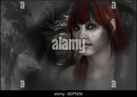 Fantasy image d'une jeune femme portant un masque à l'appareil photo Banque D'Images