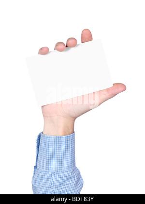 Carte vierge en main de l'homme, isolé sur blanc. Banque D'Images